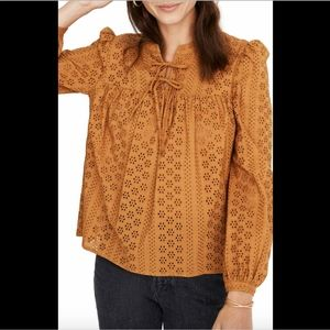 NEW $92 Madewell Eyelet Double Tie Peasant Top